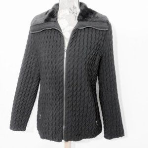 Gallery Puffer Quilted Coat Sz S Black Jacket